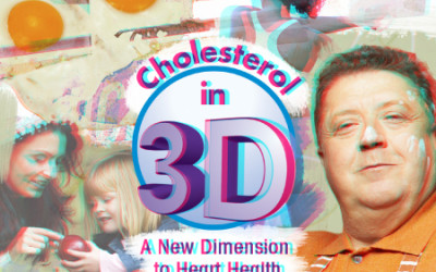Cholesterol in 3D Title Graphic Collage